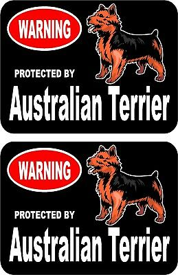 2 protected by Australian Terrier dog car home window vinyl decals stickers #C