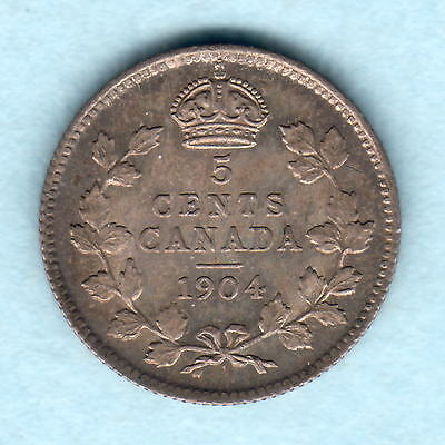 Canada. 1904 5 Cents.. Original dark tone..  aU/UNC