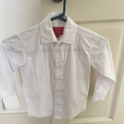 FRED BRACKS boys white pinstriped long sleeved shirt. Size 3.
