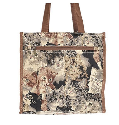 Tapestry Signare Shopper/Tote Bag - features a variety of cats & kittens