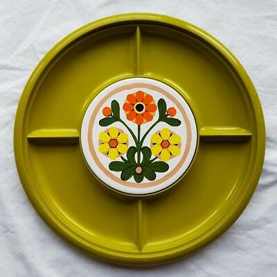 Retro Divided Tray With Ceramic Round Floral Tile Green Yellow Made in Japan GUC
