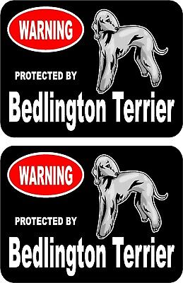 2 protected by Bedlington Terrier dog car home window vinyl decals stickers #C