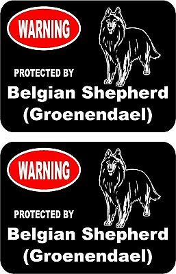 2 protected by Belgian Shepherd (Groenendael) dog home window vinyl stickers #A