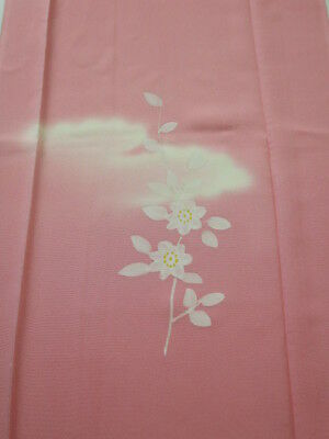 2S04z70 Japanese Kimono Silk  FABRIC Pink Flower, Cloud 48.8""