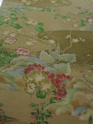2C01z60 Japanese Kimono Silk  FABRIC Yellow ochre Flowers 45.7""