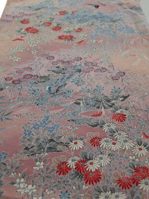 2V04z100 Japanese Kimono Silk  FABRIC Light pink Birds, Flowers 65.4""