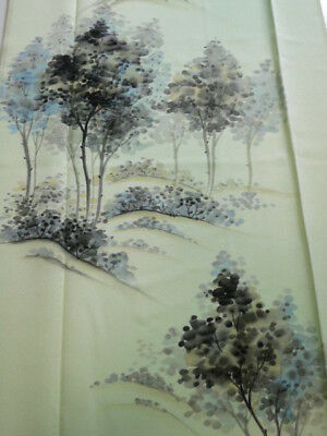 2E05z70 Japanese Kimono Silk  FABRIC Light blue-green Trees 46.5""