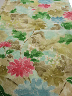 1A06z100 Japanese Kimono Silk  FABRIC Light blue Chrysanthemum 64.6""