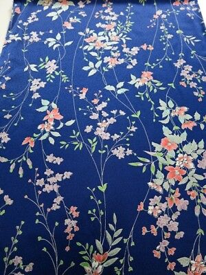 3F06z80 Japanese Kimono Silk  FABRIC Dark blue Flowers 63""
