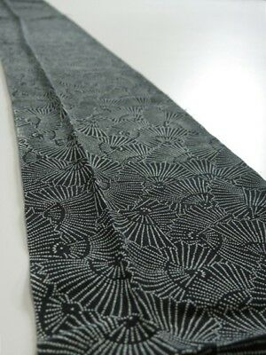1A09z50 Vintage Japanese Kimono Silk  FABRIC Black Folding fan 80.3""