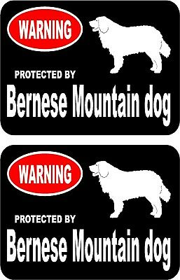 2 protected by Bernese Mountain dog car home window vinyl decals stickers #A