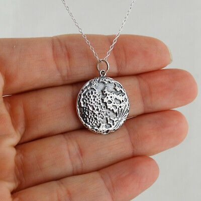 Textured Full Moon Necklace - 925 Sterling Silver - Pendant Space Lunar New
