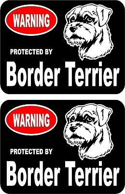 2 protected by Border Terrier dog car home window vinyl decals stickers #B