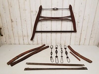 Lot of Antique Vintage Buck / Bow Saw Parts ~ Primitive Cabin Logging Tools
