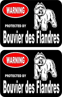 2 protected by Bouvier des Flandres dog car home window vinyl decals stickers #B