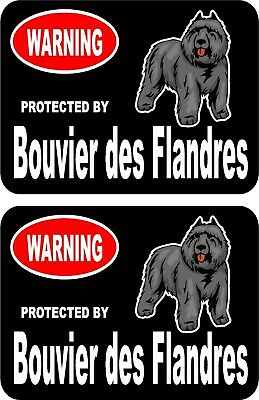 2 protected by Bouvier des Flandres dog car home window vinyl decals stickers #C