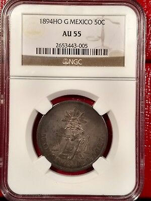 1894ho g Mexico 50 centavos NGC AU55 km#407.5 - low pop circulated coin