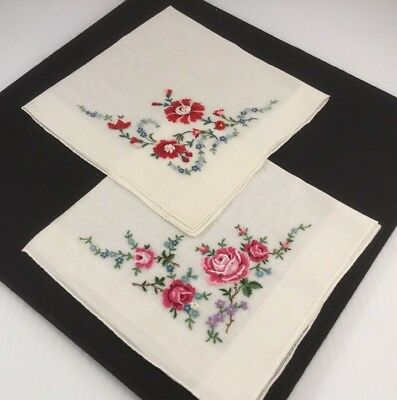 "(2) Vintage PETIT POINT Embroidered Floral Bouquet Handkerchiefs 13.5"" x 14.5"""