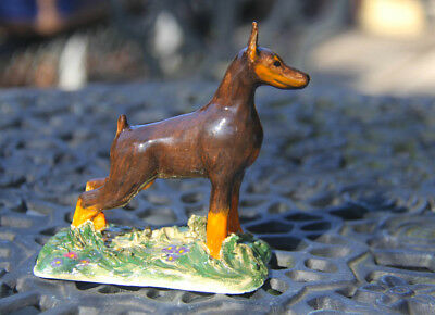 Doberman pinscher, German pinscher, hand-made OOAK artist ceramic. Tatiana Myers