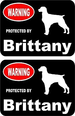 2 protected by Brittany dog car home window vinyl decals stickers #A