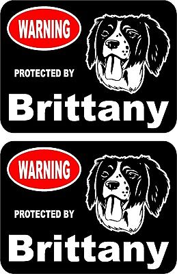 2 protected by Brittany dog car home window vinyl decals stickers #B