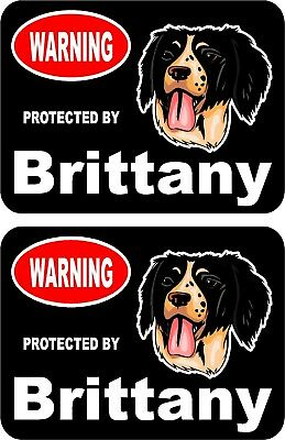 2 protected by Brittany dog car home window vinyl decals stickers #C