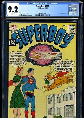 Superboy #101 (12/62) Cgc Nm 9.2 White Pages---Krypto Red Kryptonite