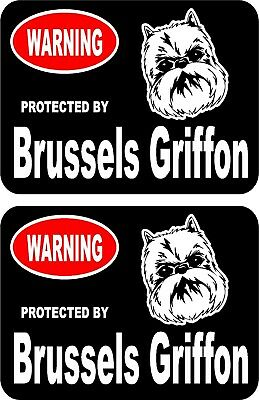 2 protected by Brussels Griffon dog car home window vinyl decals stickers #B