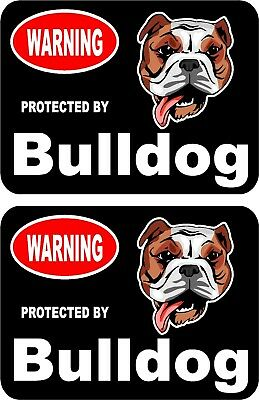 2 protected by Bullmastiff dog car home window vinyl decals stickers #A