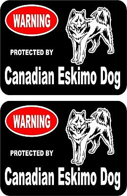2 protected by Canadian Eskimo dog car home window vinyl decals stickers #B