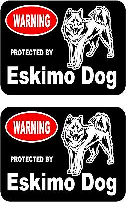 2 protected by Eskimo dog car home window vinyl decals stickers #B