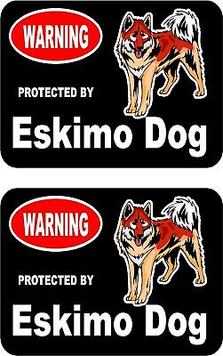 2 protected by Eskimo dog car home window vinyl decals stickers #C