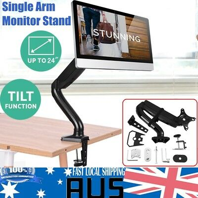 Single Arm HD LED Desk Mount Monitor Stand 1 Display Screen TV Computer Holder
