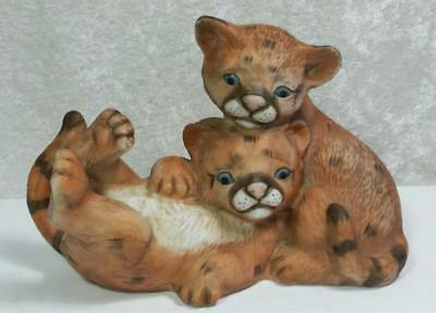 HOMCO Baby Cougars Masterpiece Porcelain Figurine Wildcats Cubs 1993 Southwest