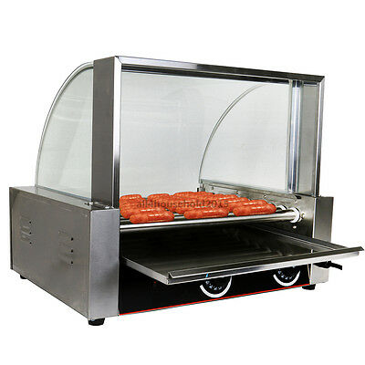 Commercial 24 Hot Dog Hotdog 9 Roller Grill Cooker Machine Stainless w/Cover