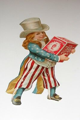 VTG Hand-Cut Female Uncle Sam Patriotic Ad CD Kenny Co Che-On-Tea Victorian 11.5