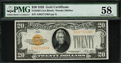 1928 $20 Gold Certificate FR-2402 - Graded PMG 58 - Choice About Unc.