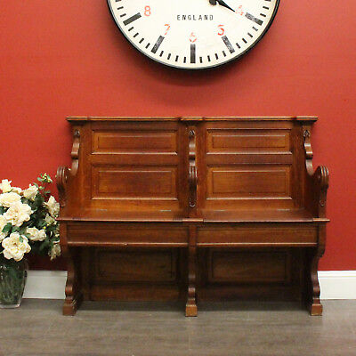 Antique French Oak 2 Seat Church Pew Hall Seat Settle with under Seat storage