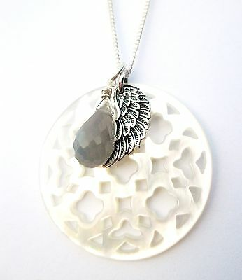 Sterling Silver Wing, Mother Of Pearl Filigree,  Moonstone Pendant Necklace