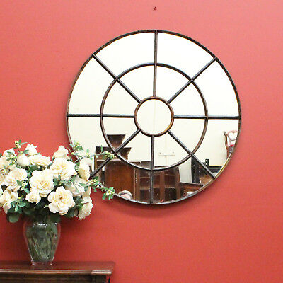 Antique French Round Metal Window Frame which has been converted to a Mirror