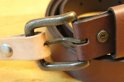 WILL LEATHER GOODS Belt Brown Flat Strap Harness Buckle Size 40