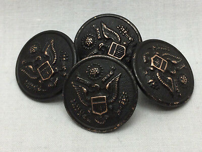 4 Vintage Brass WWI Buttons US Army Eagle City Button Works New York