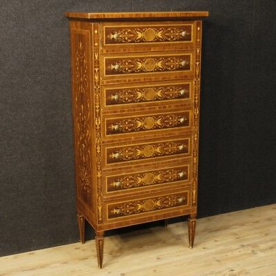 Weekly inlaid dresser chest of drawers wood italian antique style louis XVI