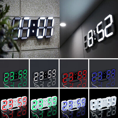LED Digital Large Big Jumbo Snooze Wall Room Desk Alarm Clock Number Display/.