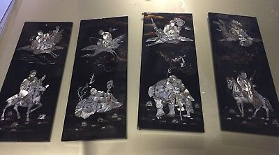 Vintage Asian Japanese Mother Pearl Inlay Wall Art Panels Chinese Sea Shel
