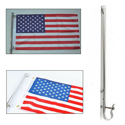"15"" Marine Boat Yacht Flag Pole Rail Mount Deck Base Holder 316 Stainless Steel"
