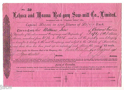 Share Scrip-Timber Milling. 1881 Echuca & Moama Red-gum Saw-mill Co. Vic