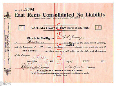 Australia - Share Scrip. 1935 East Reefs Consolidated N/L.. (for Fiji) Reg Vic