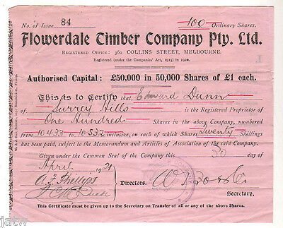 Share Scrip-Timber Milling. 1921 Flowerdale Timber Co Pty/Ltd.. (Whittlesea Vic)