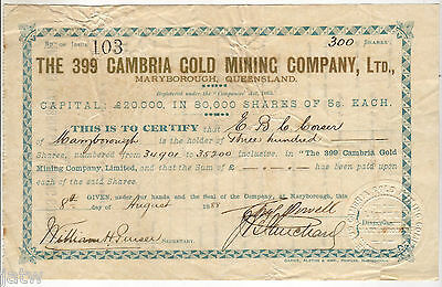 Share Scrip -  Mining. 1888 The 399 Cambria Gold Mining Co - Maryborough Qld